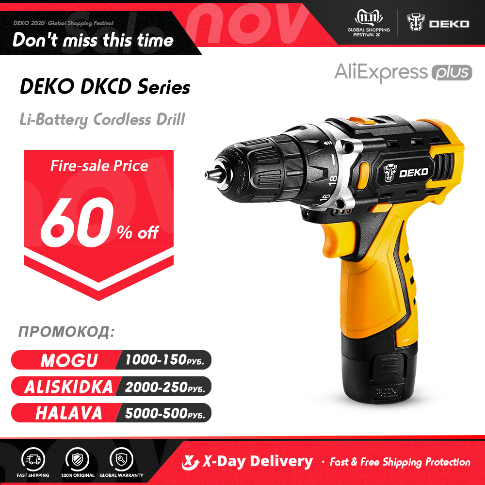 DEKO New Series 12V 16V 20V Cordless Drill Screwdriver Mini Wireless Power Driver 18+1 Torque Settings Lithium Ion Battery|Electric Drills| - AliExpress