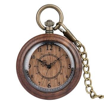 Retro Wooden Case Pocket Watch for Men Arabic Numerals Dial Accessory Classic Rough Chain Pendant Clock Reloj de madera classic bronze pocket watch for men classic train over case clock slim chain necklace pendant accessory gift relogio de bolso