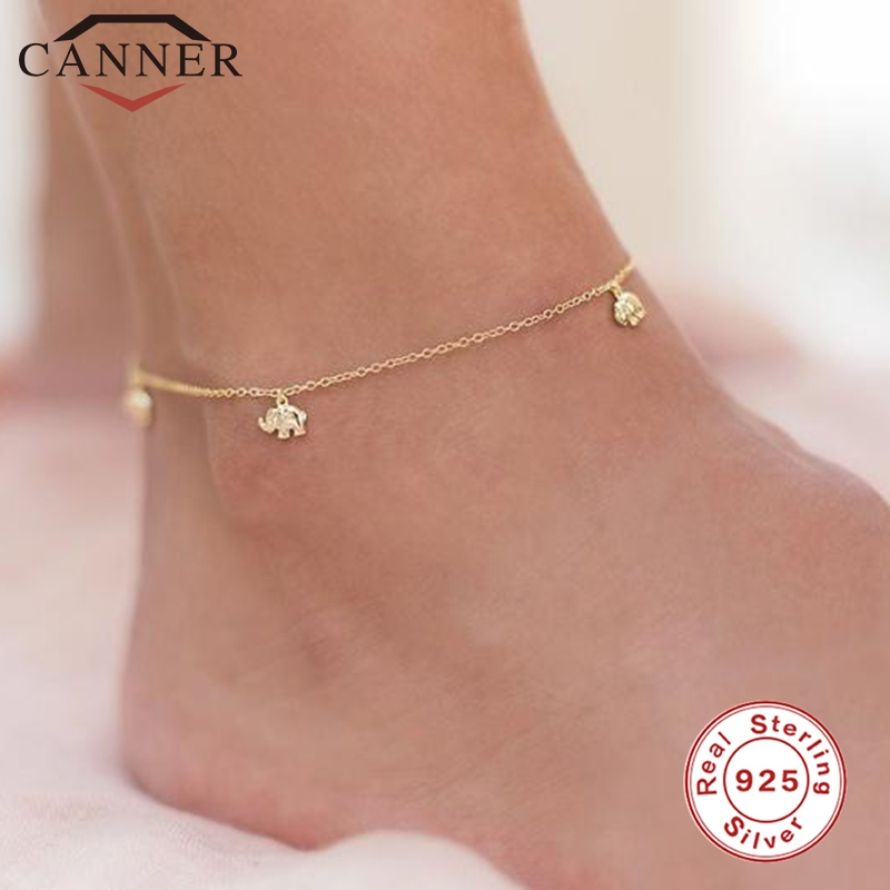 CANNER Real 925 Sterling Silver Anklets for Women Foot Chain Ankle Bracelet Fine Jewelry Gift