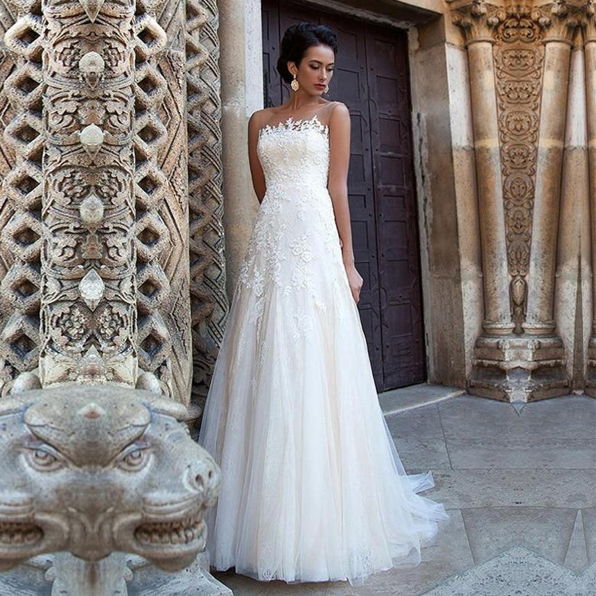 Elegant A Line Tulle Bateau Neckline Wedding Dresses With Lace Appliques Backless Wedding Gowns Custom Made Vestido De Novia