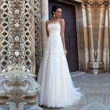 Elegante EINE Linie Tüll Bateau Ausschnitt Brautkleider mit Spitze Appliques Backless Hochzeit Kleider Nach maß Vestido De Novia