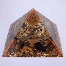 3.74inch Reiki Symbols Orgonite Pyramid Tiger
