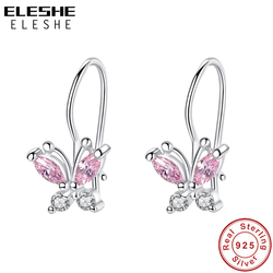 ELESHE Sparkling Crystal Cute Butterfly Earrings 925 Sterling Silver Small Hoop Earrings for Kids Baby Girls Children Jewelry