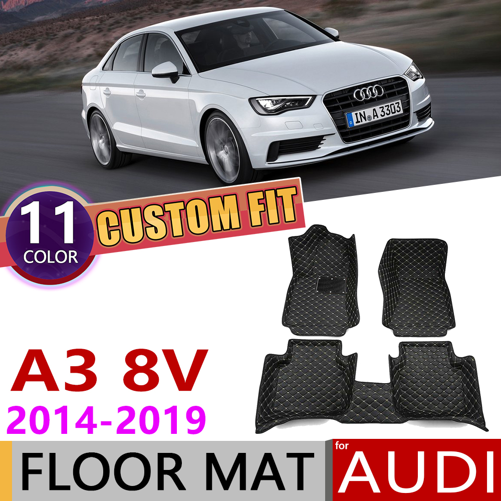 Custom Car Leather Floor Mats For Audi A3 8V Sedan Saloon 2014~2019 5 Seats Auto Foot Pad Carpet Accessories 2015 2016 2017 2018