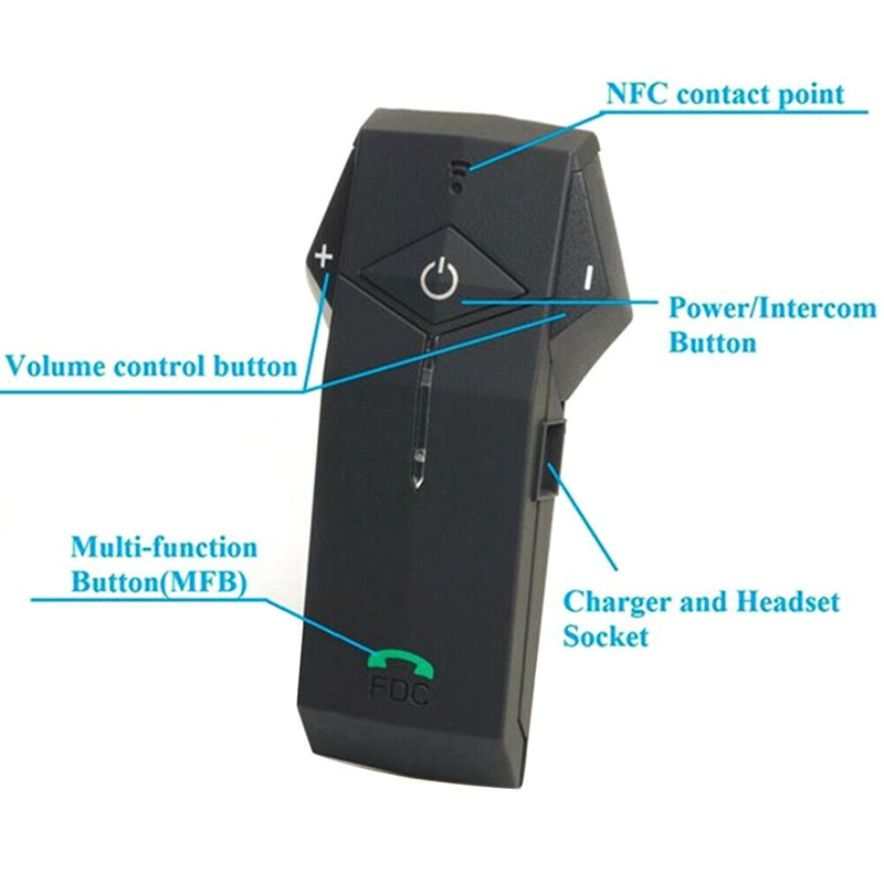 FreedConn Colo Rc Nfc Motorrad Helm Wireless Headset Bluetooth Helm Intercom Headset 1000 Meter Mit Fernbedienung - 6