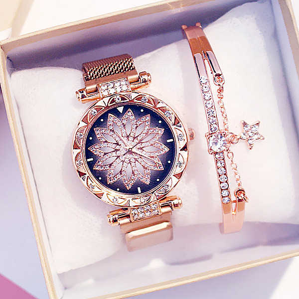 Women Magnet Buckle Lucky Flower Watch Luxury Ladies Rhinestone Quartz Watch Bracelet Set Relogio Feminino