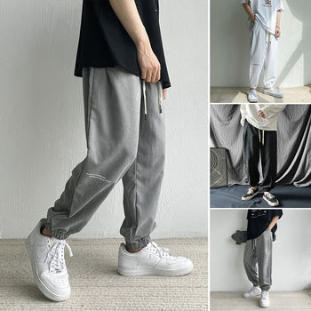 Men's pants 2020 autumn new slim solid color small letter nine minute pants corset feet long pants casual youth men's wear