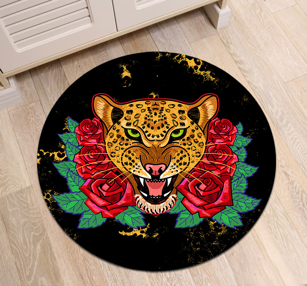 Wild Leopard With Red Roses Print Round