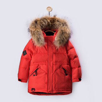 Children Boy Fashion Winter Jackets Real Fur Warm Clothing Thick Coats 90 Down Long Coat Jacket Overcoat 2-5Y