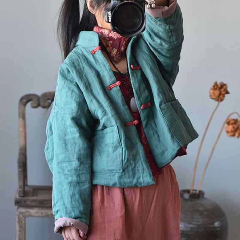 Johnature Patchwork Parka del Cappotto Dell'annata 2020 Nuovo Monopetto Vestiti Delle Donne Manicotto Pieno Per Il Tempo Libero Tasche Concise Cappotto Delle Signore