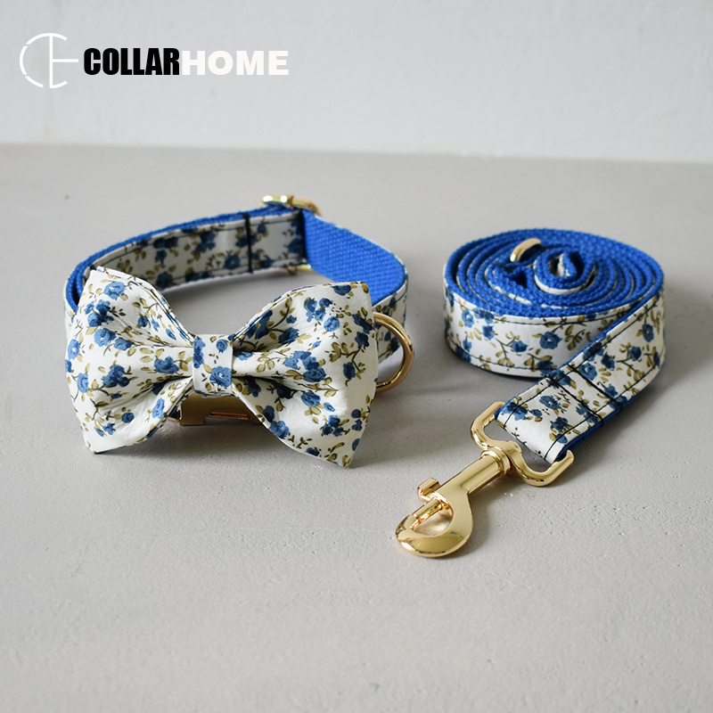 pretty soft dog collar leash set with bow tie for small medium large solid gold metal buckle flower pet straps