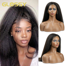 GLOSSY Kinky Straight Full Lace Wig Human Hair Wigs Brazilian Remy Hair 130 Density 28 Inch Lace Human Hair Wigs For Women tanie tanio long Lace Part CN(Origin) Half Machine Made Half Hand Tied All Colors Swiss Lace 1 Piece Only Transparent Brazilian Hair