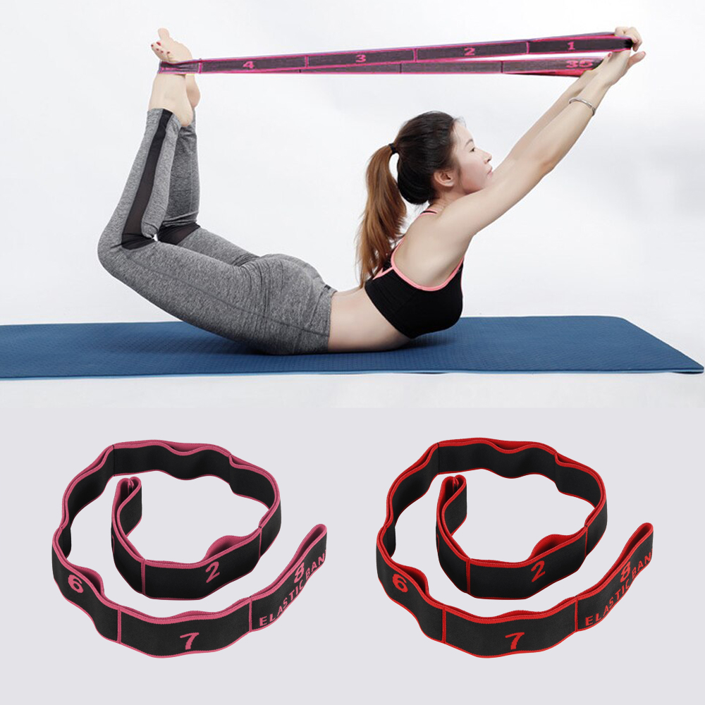Yoga Belt Pull Strap Elastic Latin Dance Stretching Band Yoga Pilates Training Belt Gym Home Fitness Exercise Resistance Bands