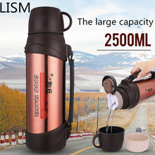 лучшая цена 304 Stainless Steel Outdoor Large Capacity Thermos Kettle 1200ML 1500ML  2L Car Outdoor Travel Cup  Thermos Bottle Portable 2.5L