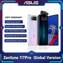 ASUS Zenfone 7 7 Pro 8GB RAM 128 256GB ROM Snapdragon 865 865Plus 5000mAh NFC Android Q 90Hz 5G Smartphone tanie tanio 2 karty SIM 2340x1080 TYPE-C Nie odpinany 6 67 ≈64MP Szybkie ładowanie 4 0 USB-PD Zamontowane z boku Rozpoznawania twarzy