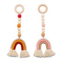 Beads Wooden Baby Molar Stroller Ring Hanging-Pendants Nursing-Rattle-Toys Gym-Frame