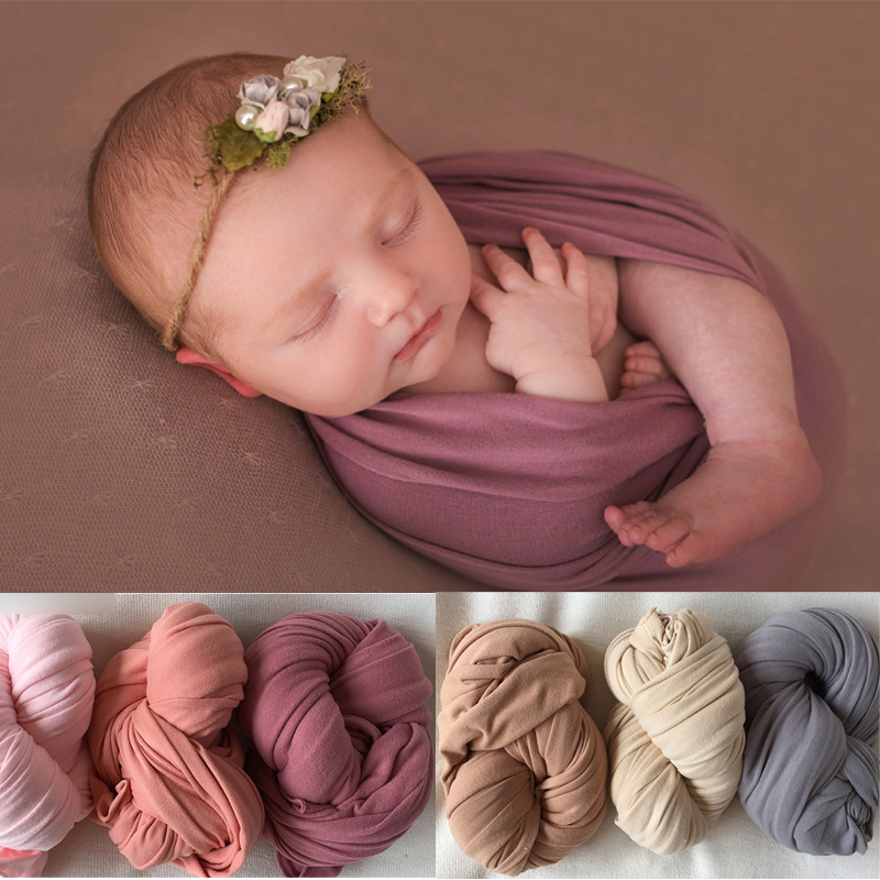 Baby Photo Prop Elastic Baby Swaddle Wrap Photography Wrap for Newborns