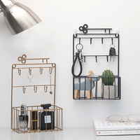 2019 new key holder storage basket metal hook decorative wall hanging earrings ring jewelry hook home decoration frame WF814357