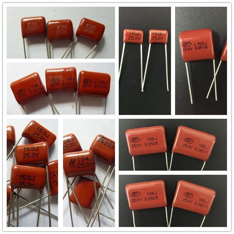 10pcs CBB Capacitor 250V 102~685 1nF~6.8uF Metallized Polypropylene Film Capacitor All Values