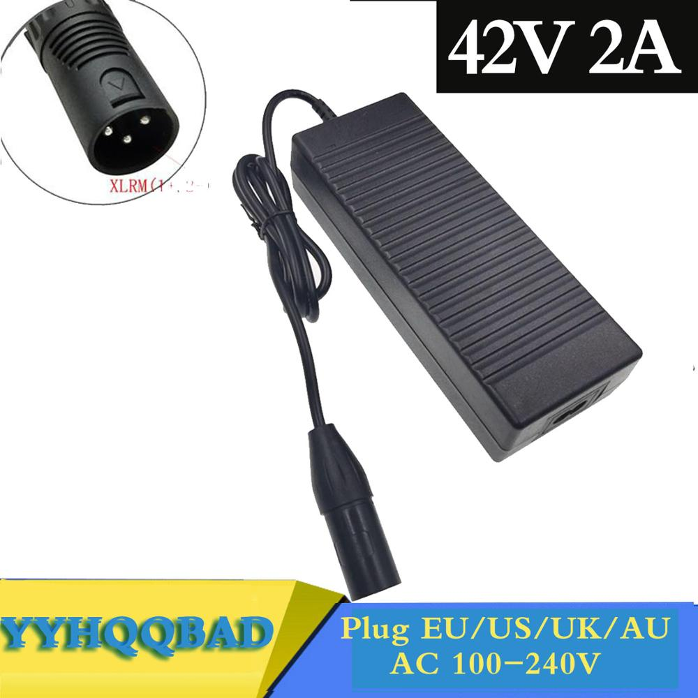 42V <font><b>2A</b></font> E-bike Lithium Battery <font><b>Charger</b></font> for <font><b>36V</b></font> 10S electric bike lithium battery XLR Plug Input 100-240V Free shipping image