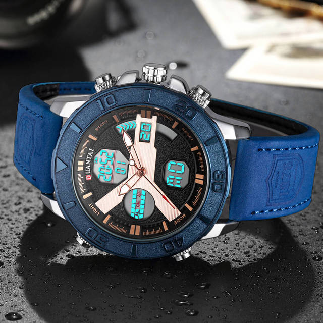 DUANTAI Mens Sports Watches Dual Time Zone Luxury Watch Men Leather Deployment Buckle Ourdoor Waterproof 3AM