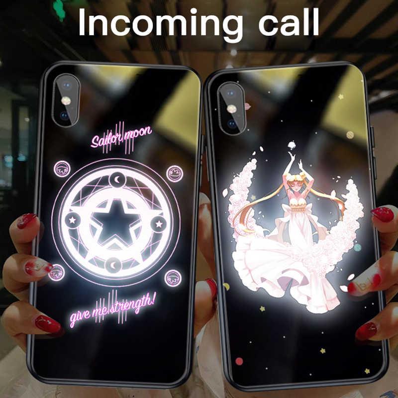 Фото Мультфильм Сейлор Мун вызов Освещение стеклянный чехол для iPhone XSmax XR XS X 8 7 Plus