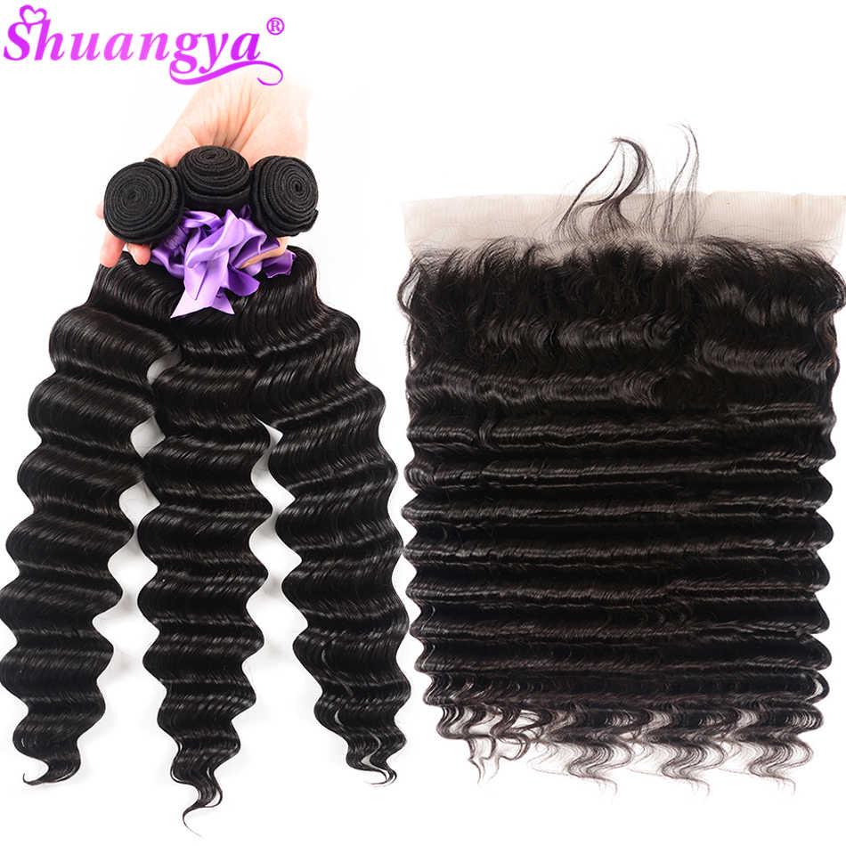 13x6 волнистые пряди, индийские волнистые пряди с фронтальным 100% пряди человеческих волос Remy Shuangya