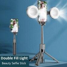 אלחוטי Bluetooth Selfie מקל עם חצובה LED טבעת אור להארכה מתקפל חדרגל כף יד Selfie מקל עבור iPhone סמסונג
