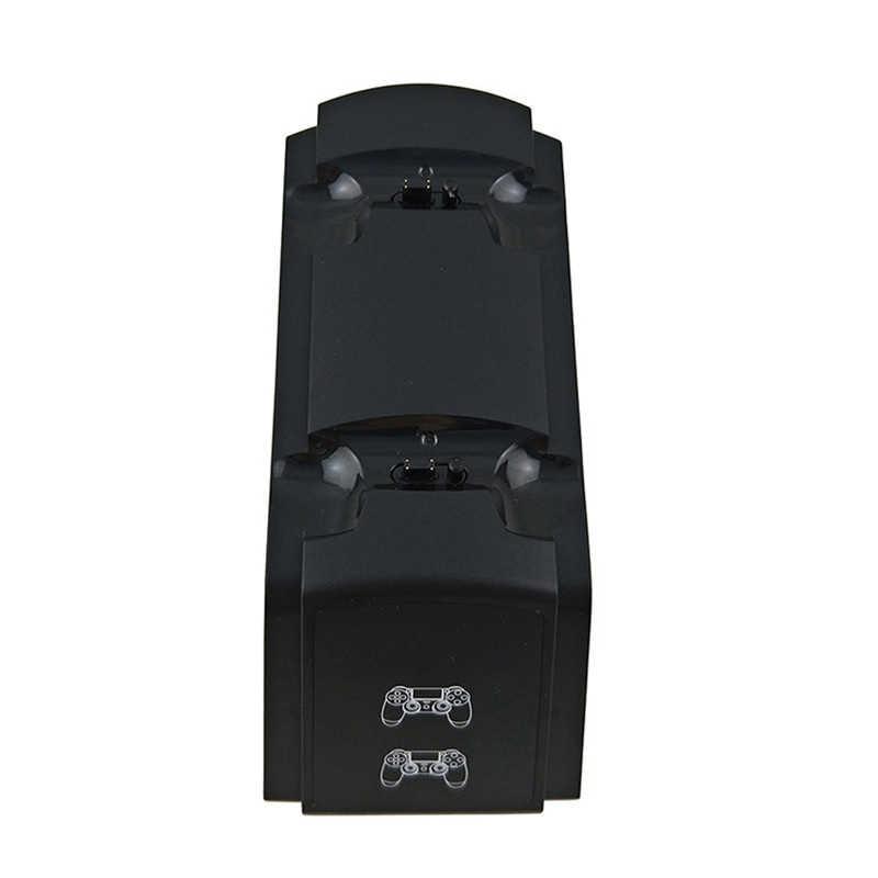 Shirlin DC5V untuk PS4 Dual Charger Wirless USB Gamepad Pengisian Dock dengan Lampu LED Display Permainan Pengisian Berdiri Charger