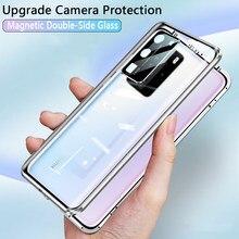 Proteção magnética de vidro temperado, lado duplo, flip, capa para huawei p40 pro 5g els nx9 n04 p40pro capa p30 pro p 40 30