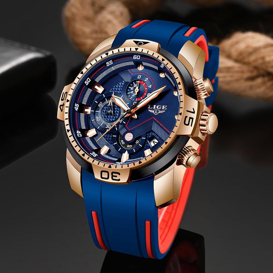 2020 LIGE Sport Watch Men Brand Luxury Chronograph Silicone Strap Quartz Mens Watches Waterproof Clock Relogio Masculino+Box