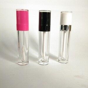 Пустой Блеск для губ розовый черный белый колпачок круглый пластиковый блеск для губ контейнеры блеск для губ трубки с прозрачной бутылкой ...
