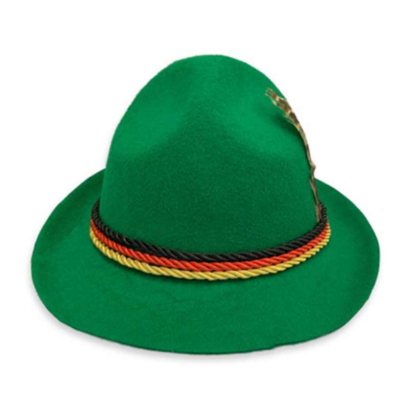 FASHION Solid Fedoras Hats Women Men Colorful Ribbon Hat German Traditional Oktoberfest Stage Sombrero Caps Germanic Unisex Hats