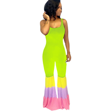Women Casual Sleeveless Hollow Out New Fashion Patchwork Skinny Playsuits Summer Ladies Sexy Bodycon Party Trousers Jumpsuits