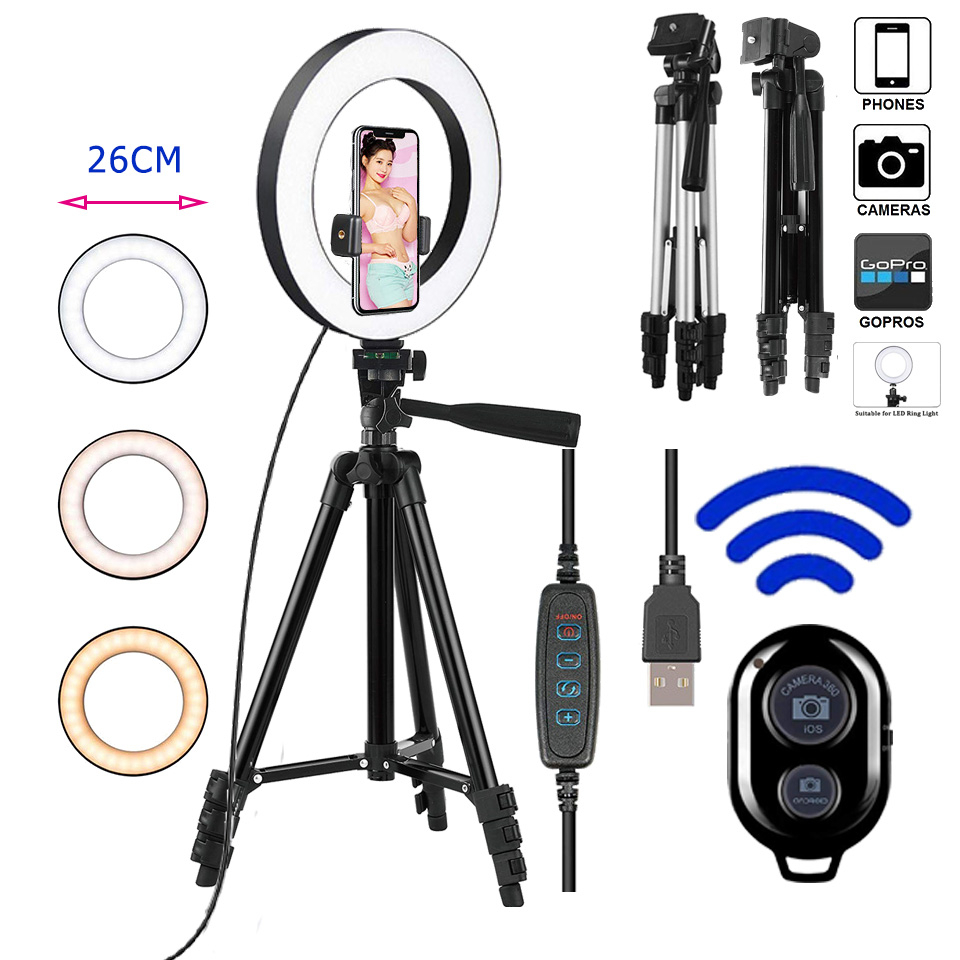 26cm Photo Ringlight Led Selfie Ring Light Phone Bluetooth Remote Lamp Photography Lighting Tripod Holder Youtube Video