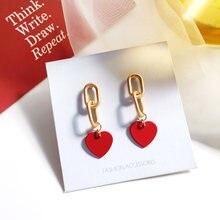 Элегантные серьги с красным сердцем ретро темперамент металлическая