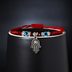 Fashion Braided Rope Beaded Blue Evil Eye Charm Bracelet Women Lucky Red String Hamsa Hand Bracelets Handmade Friendship Jewelry