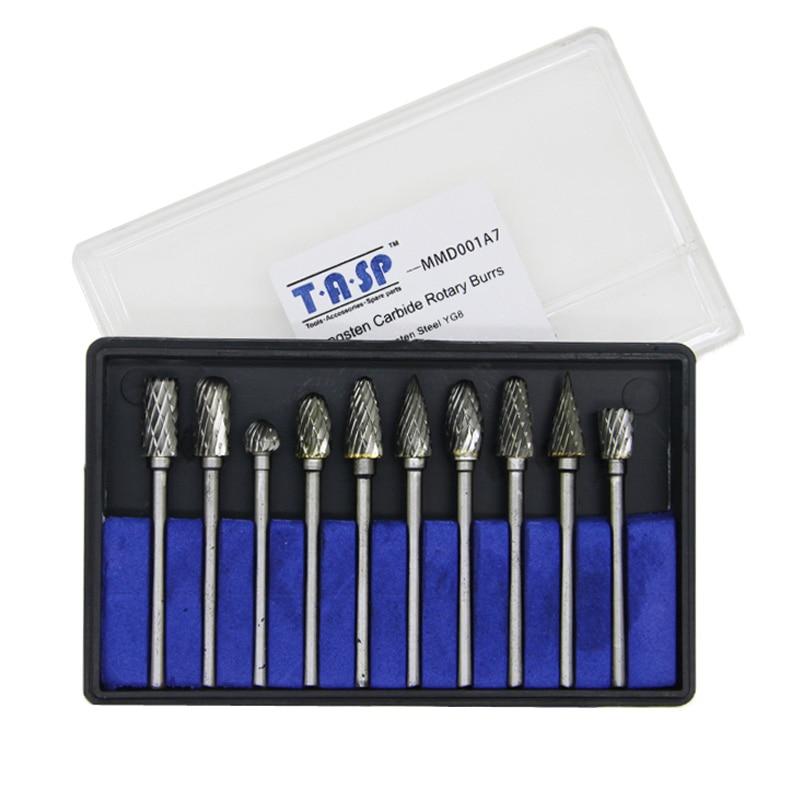 Juego de brocas de grabado de carburo de tungsteno de 10 piezas, cortadores de vástago de 3,2 mm para accesorios de mini taladro Dremel