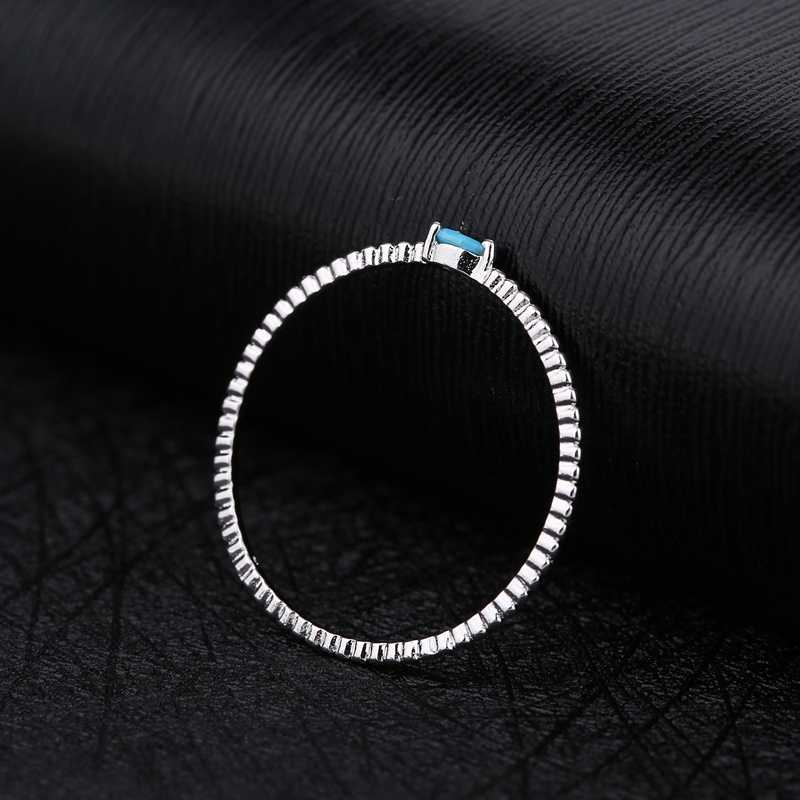 MIGGA Mini goutte d'eau en forme de Bague en pierre bleue pour femmes filles or blanc couleur Bague cadeau bijoux