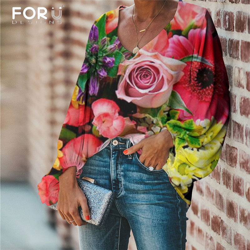 FORUDESIGNS Large Size Women Blouse Rose Pattern Flower Printing 2020 Casual Loose Long Sleeve Shirt Tops V-neck Female Clothing