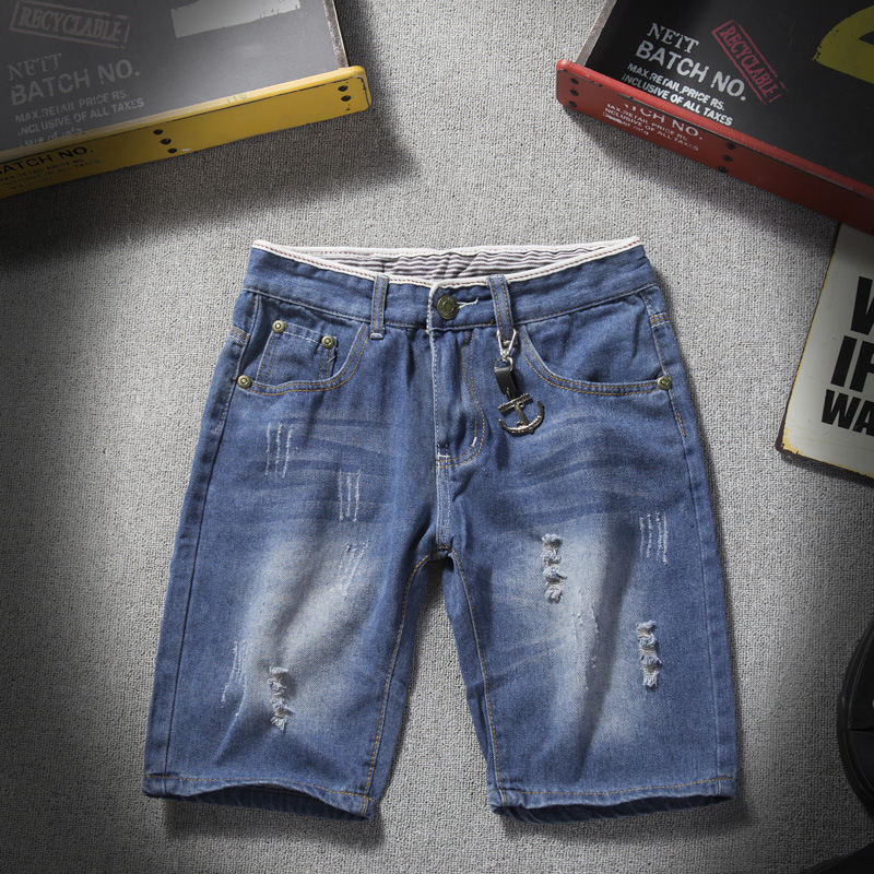 2018 Summer New Style Large Size Teenager With Holes Denim Shorts Korean-style Slim Fit Fashion Jeans Short Shorts