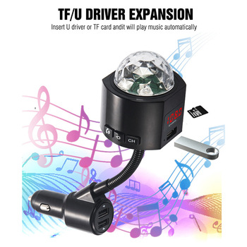 Car FM Transmitter 3 USB Chargering Bluetooth Car Kit Music Player with Detachable Disco Light AS99 image