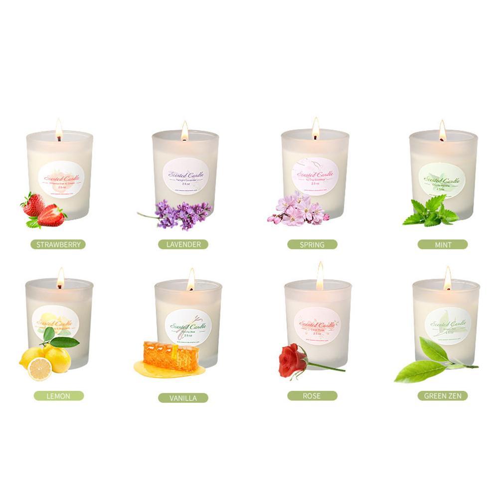 8 pièces/ensemble aromathérapie bougie tasse écologique plante huile essentielle cire de soja sans fumée bougies aromathérapie bougie