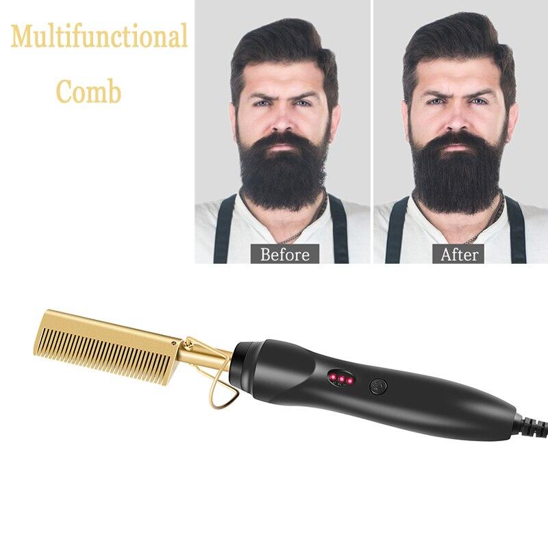 New Multifunctional Beard Straighten Hot Comb Electric Quick Hair Straightener&Hair Curler Iron Brush Hair Styling Tool For Men