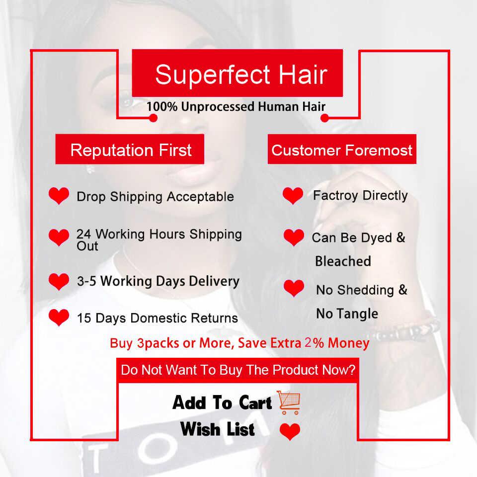 Superfect derin dalga demetleri ile kapatma brezilyalı saç örgü 3 demetleri kapatma ile Remy insan saç demetleri ile kapatma