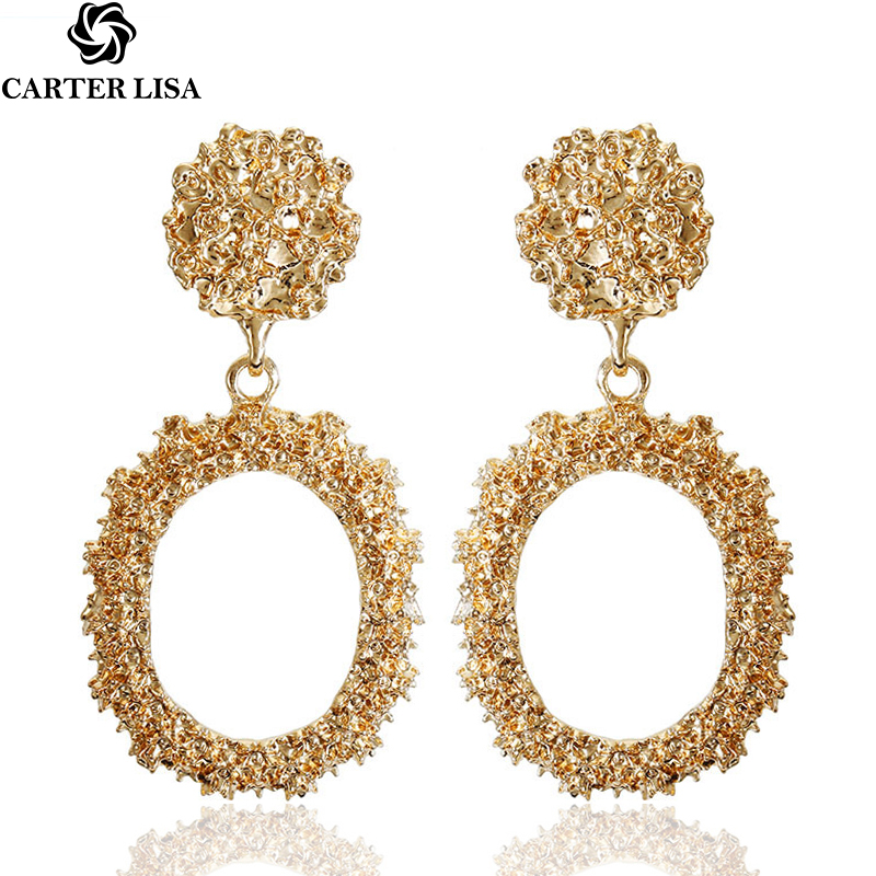 CARTER LISA Hot Sale Geometric Round Drop Earring Trendy Gold-color Metal Earrings For Women Fashion Minimalist Jewelry