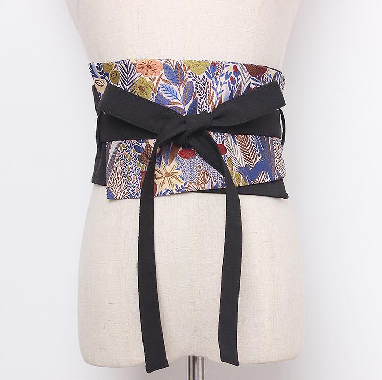 Women's Runway Fashion Flower Jacquard Fabric Cummerbunds Female Vintage Dress Corsets Waistband Belts Decoration Wide Belt 2176