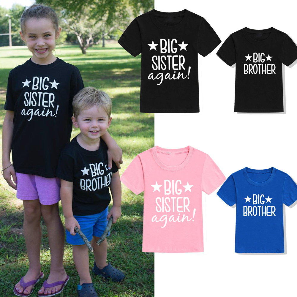SIBLING T-SHIRTS Kids Tees Big Brother Big Sister Announcement Tshirt Kids Short Sleeve Tshirt Promoted To Big Brother/sister