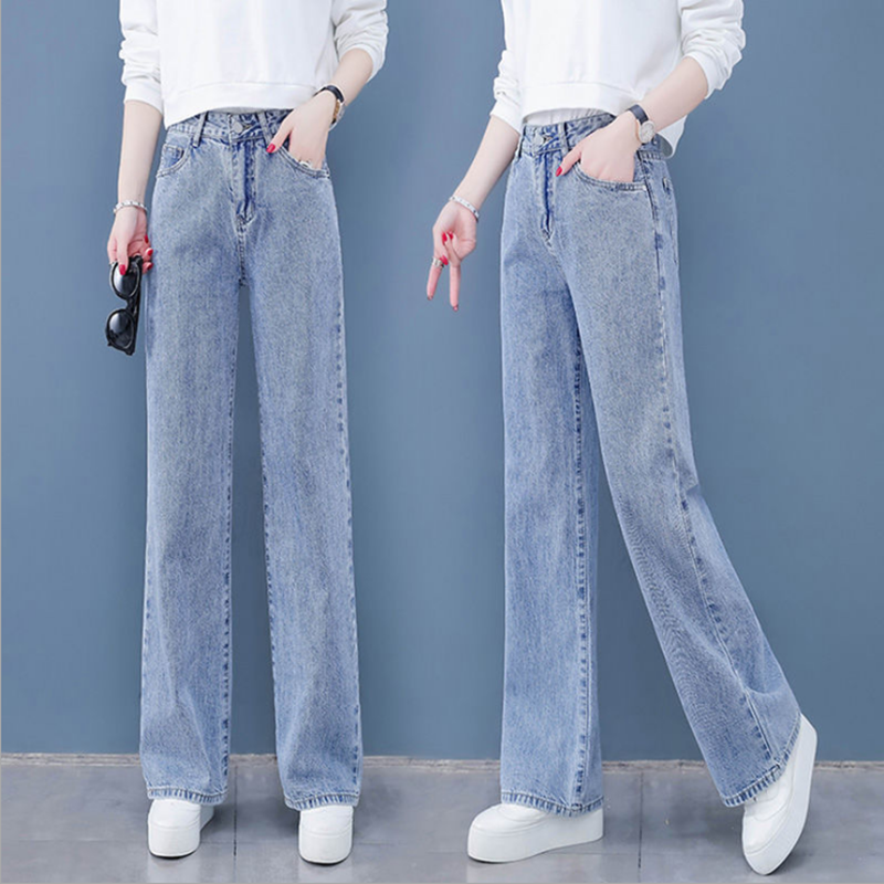 Jeans Women Pants Trousers Wide-Legs Loose Retro High-Waist Straight Solid-Color Thin