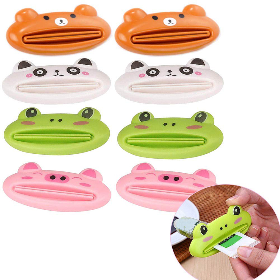 1Pcs Cute Animal Easy Toothpaste Dispenser Plastic Toothpaste Tube Squeezers Useful Toothpaste Rolling Holder For Home Bathroom